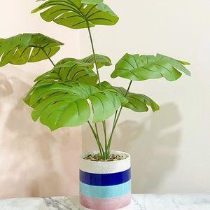 Faux Monstera Deliciosa Plant in Colorful Pot